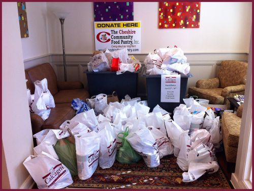Our Cheshire office lobby FULL of food donations... And these weren't all of them! Thank you Cheshire Residents!