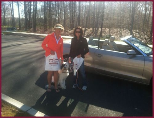 Cheshire Realtors Lori Watts and Fran Leventhal, along with Fran's buddy Spanky, dropping off bags in Cheshire neighborhoods. — with Lori Siniscalco Watts and Fran Leventhal in Cheshire.