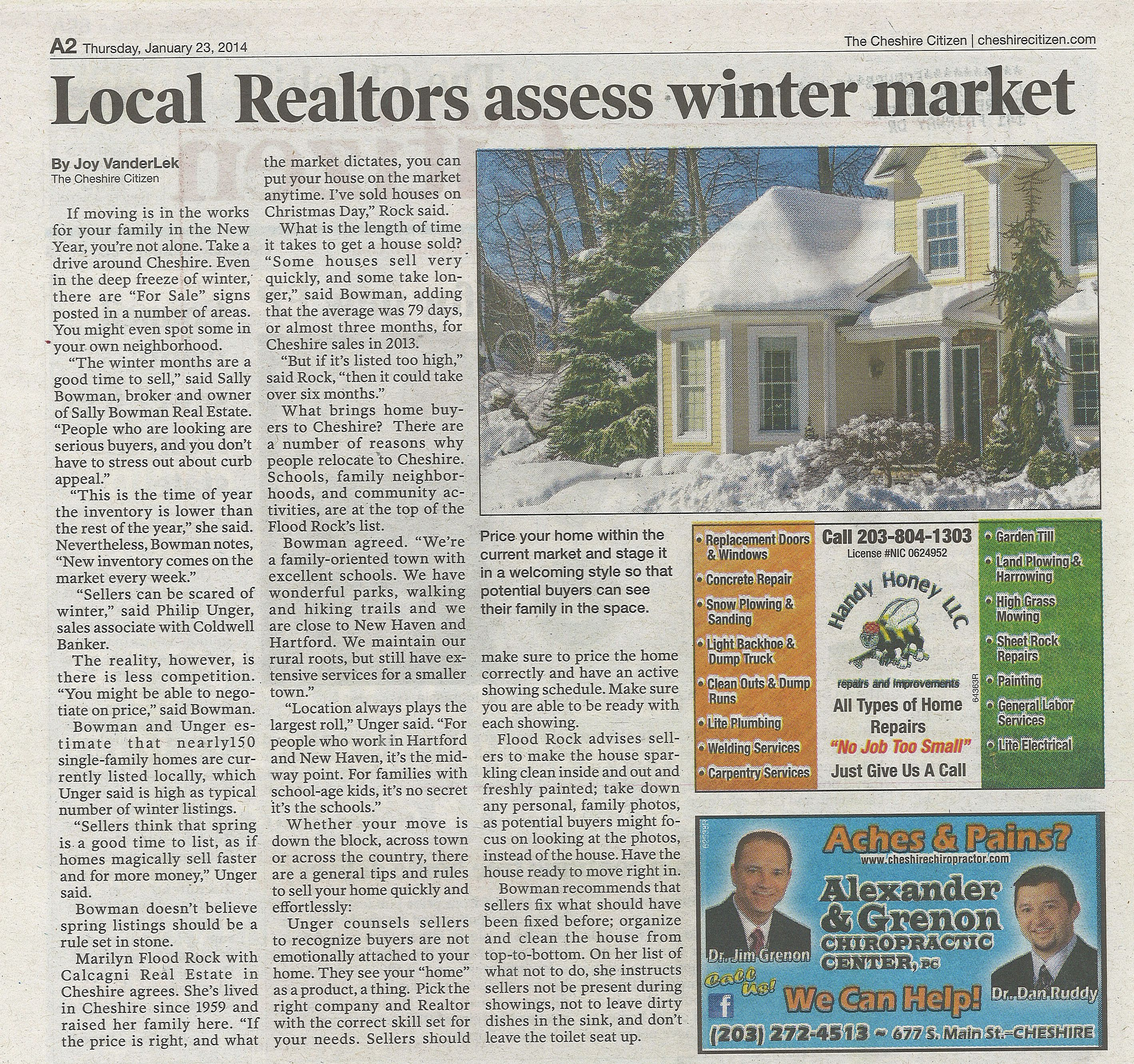 Cheshire Citizen Article- 1-23-14